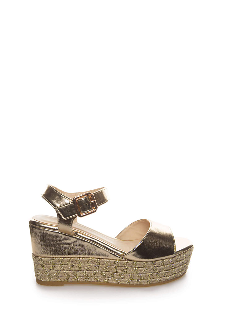 New Pattern Braided Metallic Wedges GOLD
