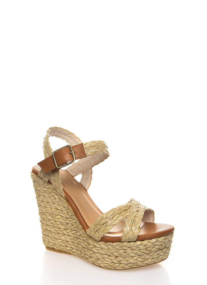 Last Straw Braided Espadrille Wedges NATURAL (You Saved $25)