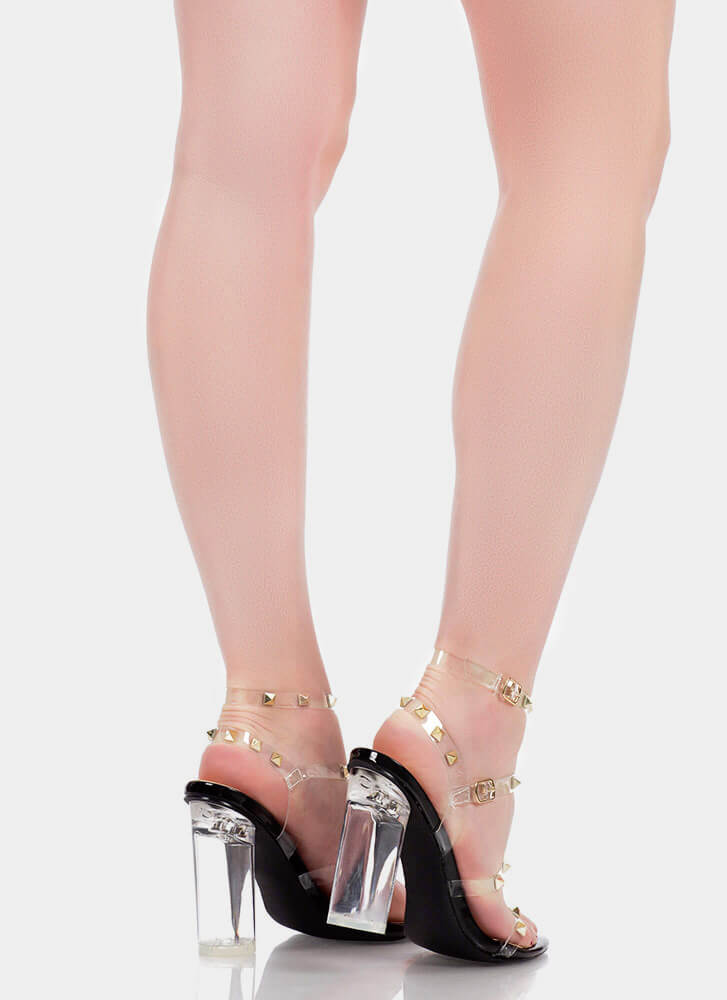 Let's Clear Out Studded Lucite Heels BLACK (You Saved $27)