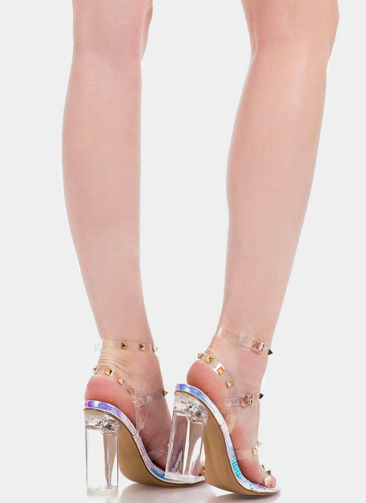 Let's Clear Out Studded Lucite Heels PINKHOLO (You Saved $27)