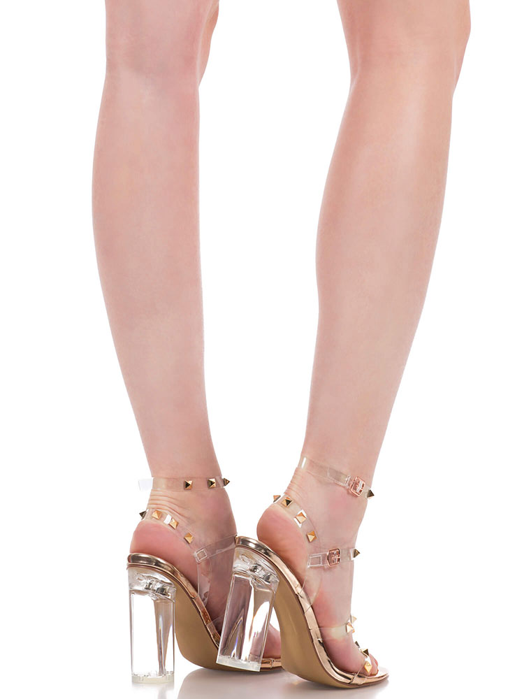Let's Clear Out Studded Lucite Heels ROSEGOLD (You Saved $27)