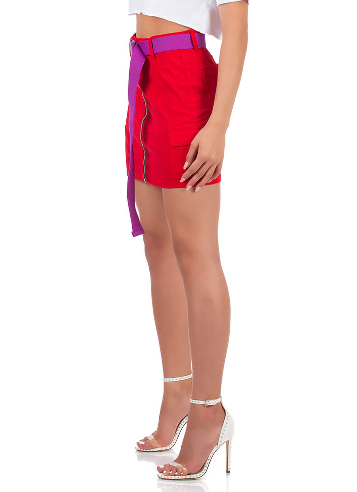 Cute Cargo Belted Zip-Front Miniskirt RED