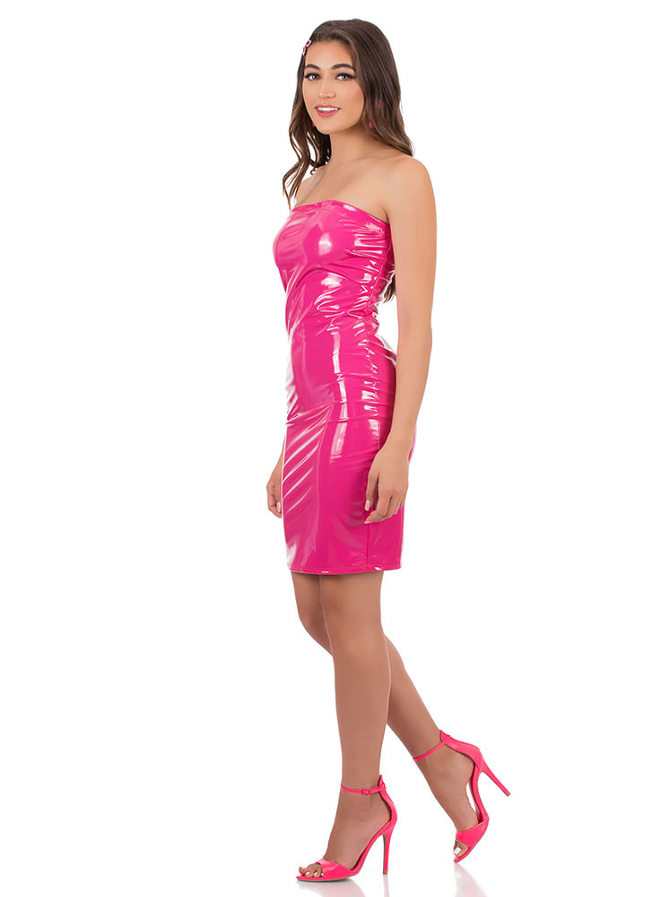 Who's The Gloss Faux Patent Tube Dress FUCHSIA (You Saved $18)