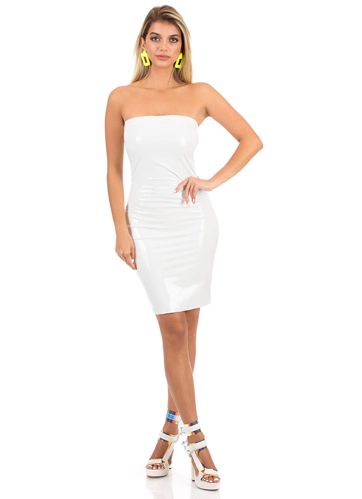 Who's The Gloss Faux Patent Tube Dress IVORY (You Saved $18)