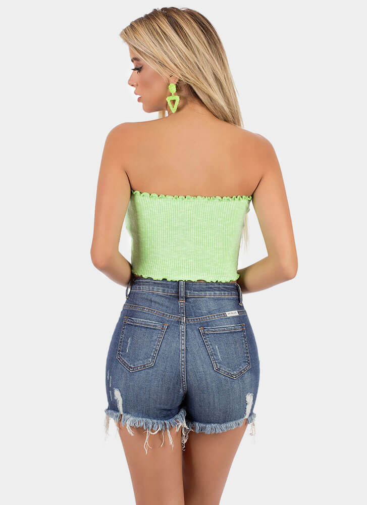 Frilly Weather Rib Knit Tube Top NEONGREEN