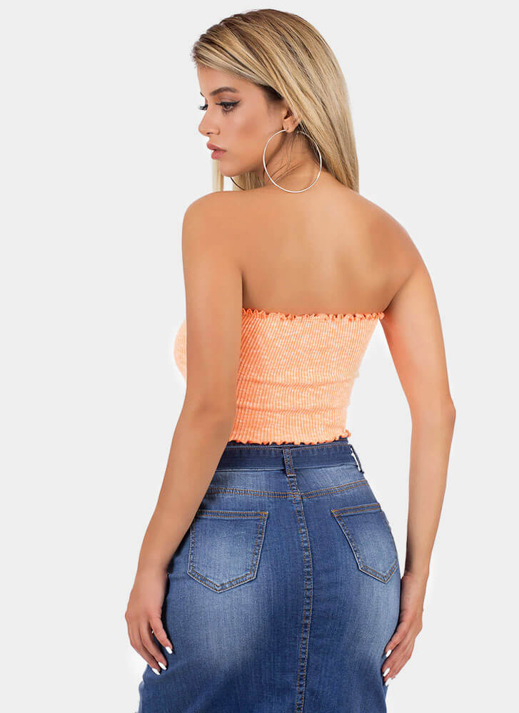 Frilly Weather Rib Knit Tube Top NEONORANGE