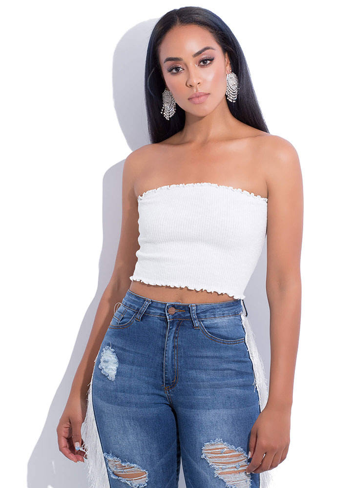 Frilly Weather Rib Knit Tube Top WHITE (You Saved $8)