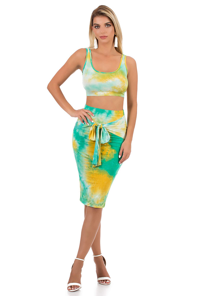 Tied And Tie-Dyed Top And Skirt Set GREENMULTI (You Saved $25)