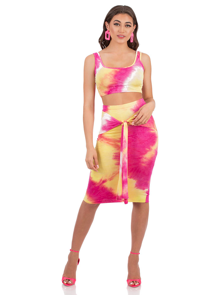 Tied And Tie-Dyed Top And Skirt Set PINKMULTI