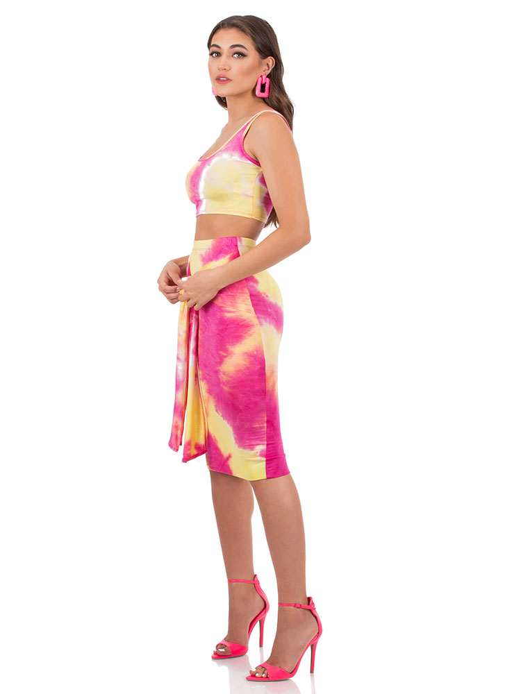 Tied And Tie-Dyed Top And Skirt Set PINKMULTI (You Saved $25)
