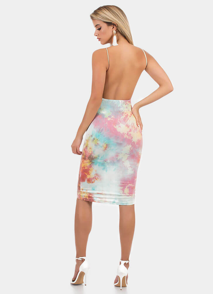 Tie-Dye Skies Open-Back Midi Dress MULTI