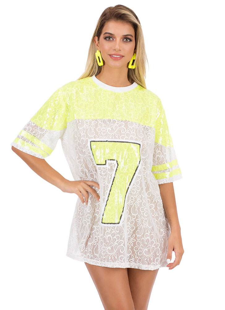 Lucky Number 7 Lace Jersey Minidress NEONYELLOW