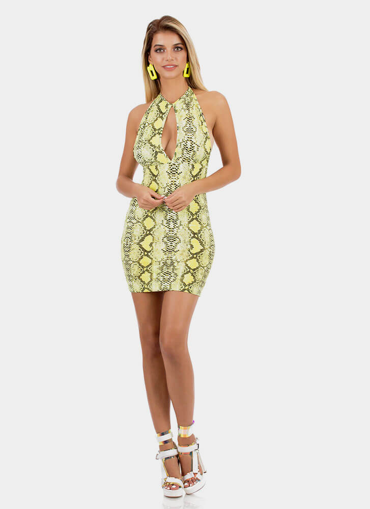 Sly Snake Cut-Out Halter Minidress NEONYELLOW