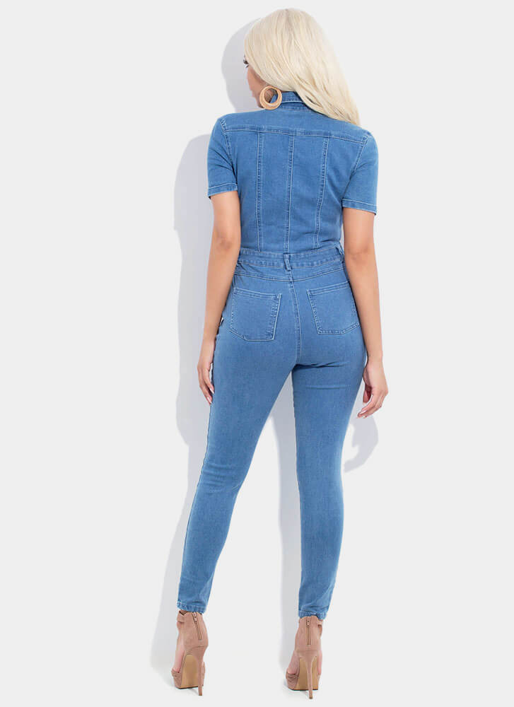 Jeanie Collared Button-Up Denim Jumpsuit MEDBLUE (You Saved $20)