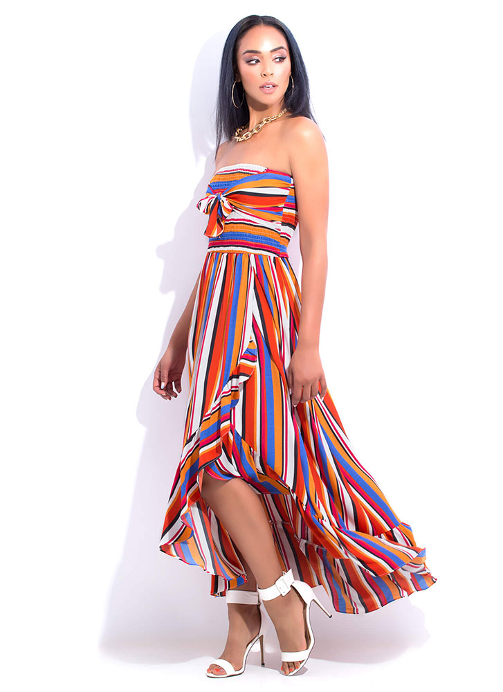 Paradise Strapless Striped Maxi Dress MULTI (You Saved $40)