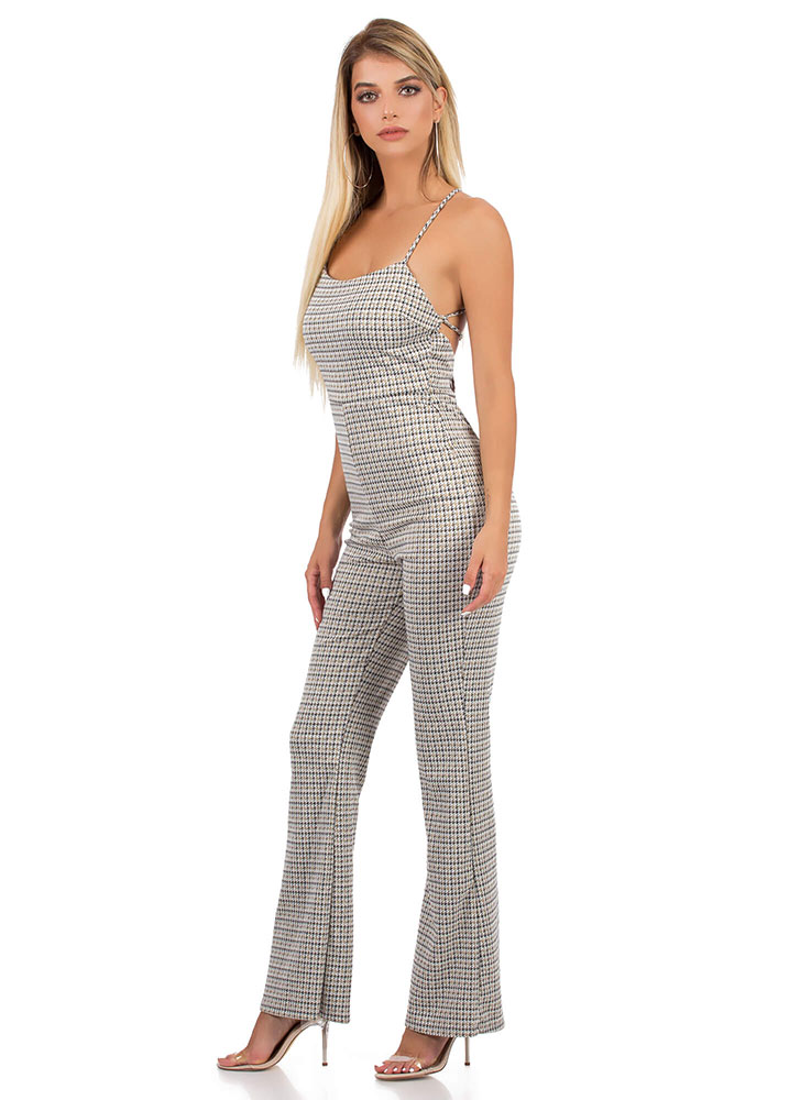 Open Mind Lace-Up Houndstooth Jumpsuit MULTI