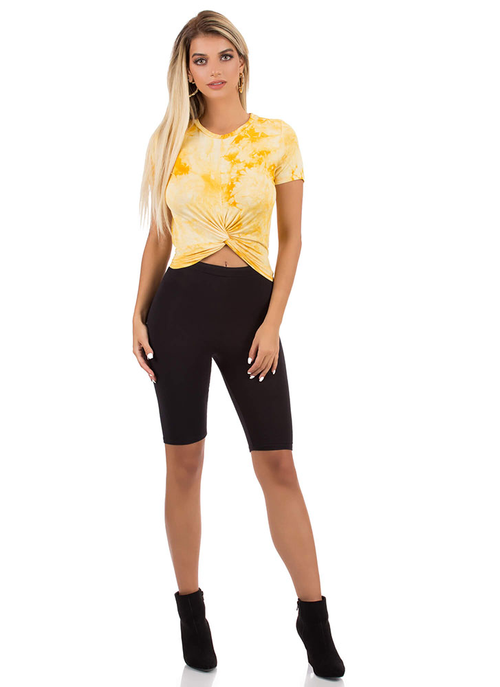 Tie-Dye Tee With A Twist Crop Top MUSTARD (You Saved $7)