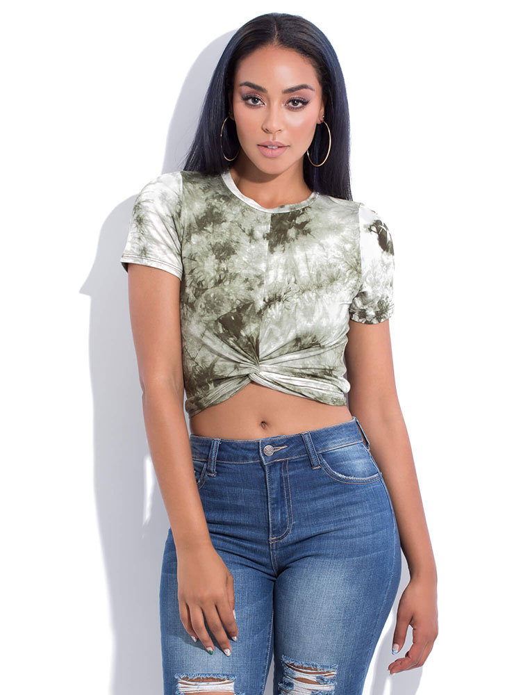 Tie-Dye Tee With A Twist Crop Top OLIVE (You Saved $7)