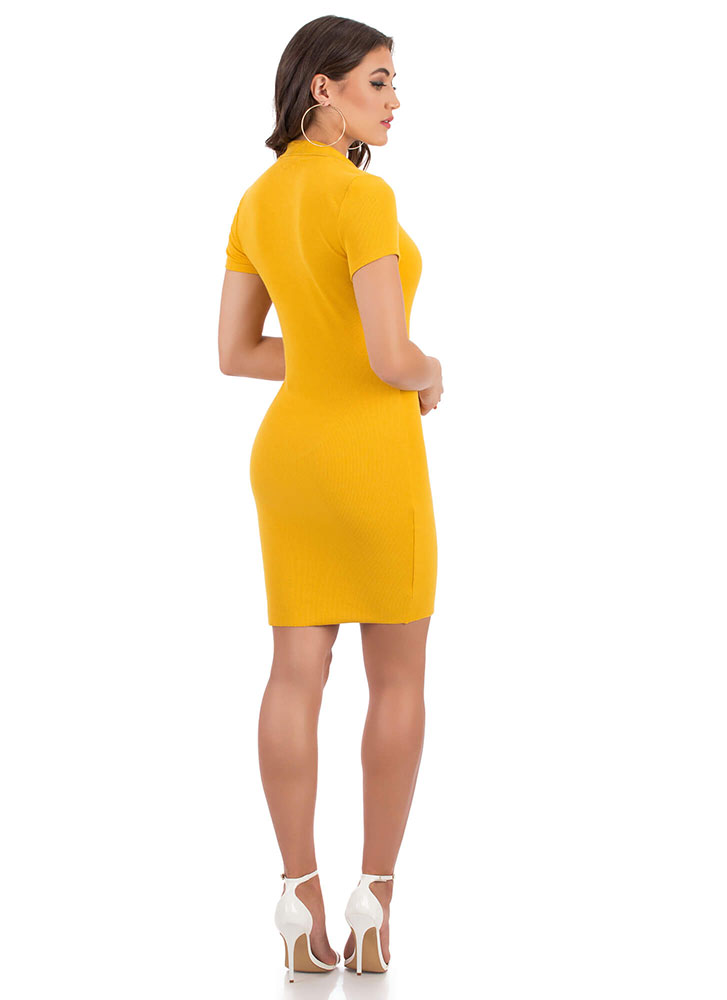 Stay Cute Collared Button-Up Dress MUSTARD