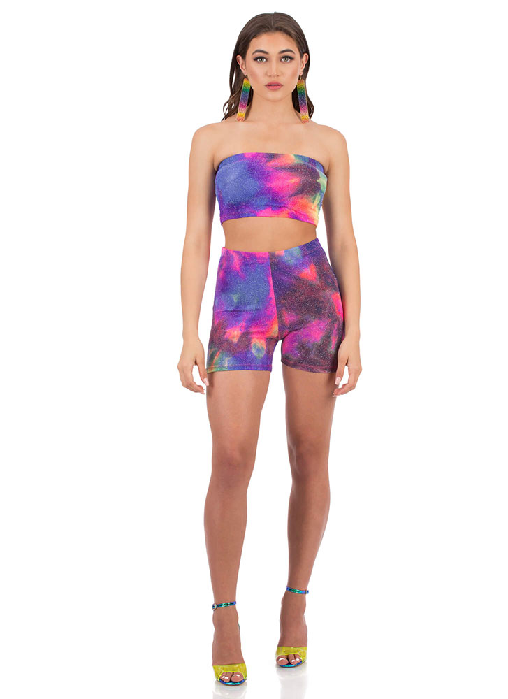 Tie-Dye Galaxy Tube Top And Shorts Set MULTI (Final Sale)