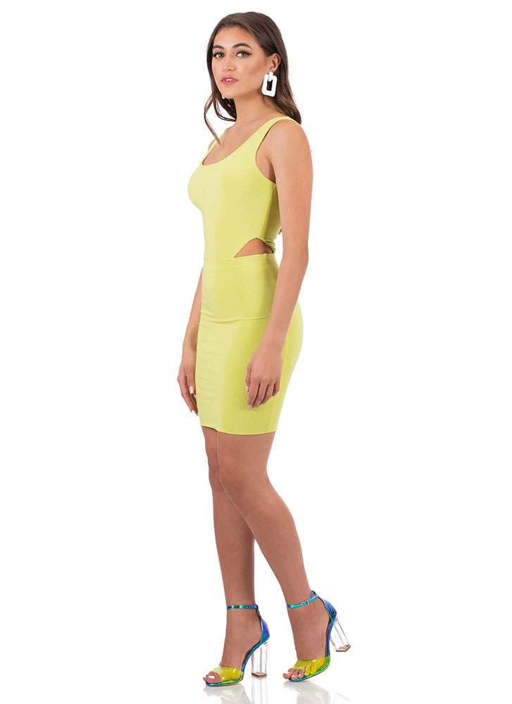 Make The Cut-Out Bodysuit And Skirt Set LIME