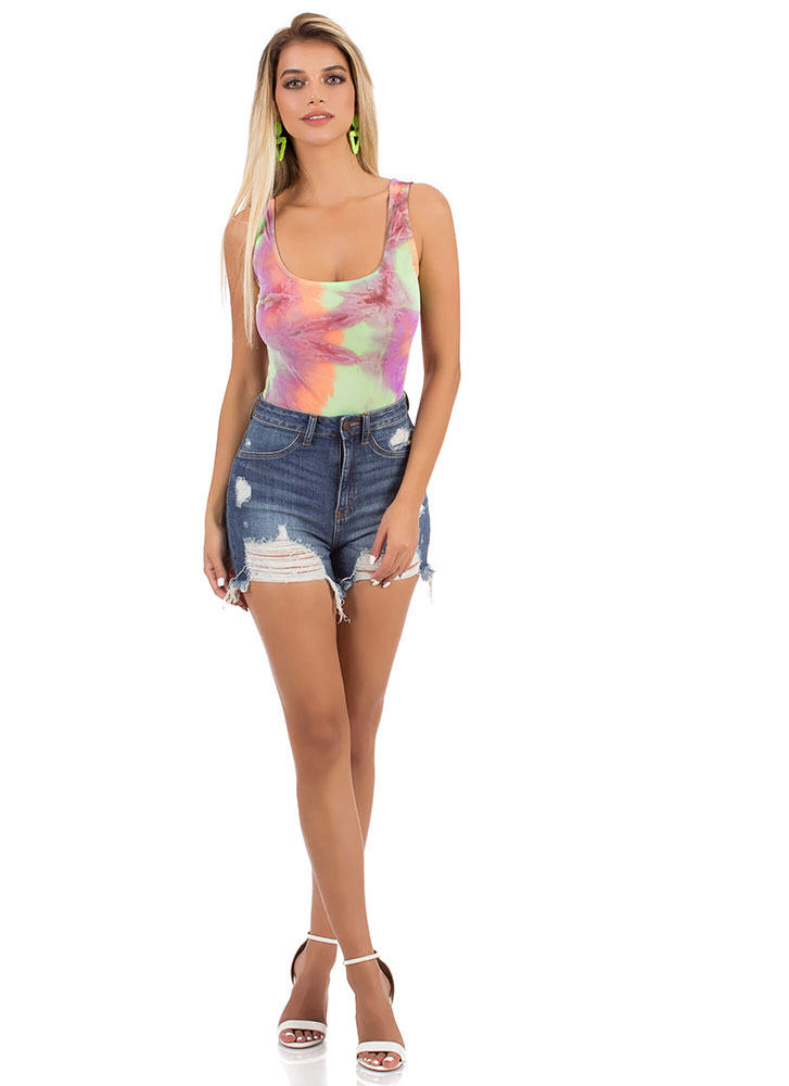 Favorite Colors Tie-Dye Mesh Bodysuit PURPLEMULTI