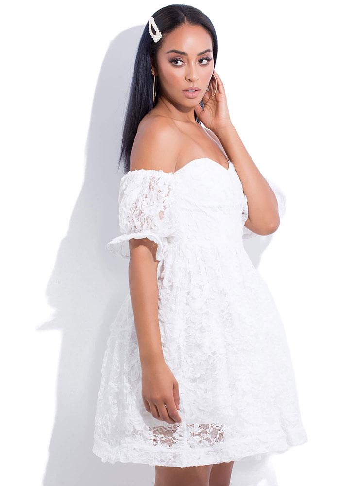 Miss Lace Off-Shoulder Babydoll Dress WHITE (You Saved $50)