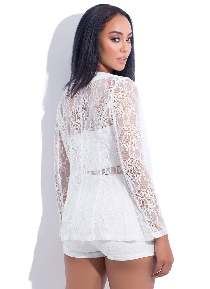 Loving Lace 3-Piece Top And Shorts Set WHITE