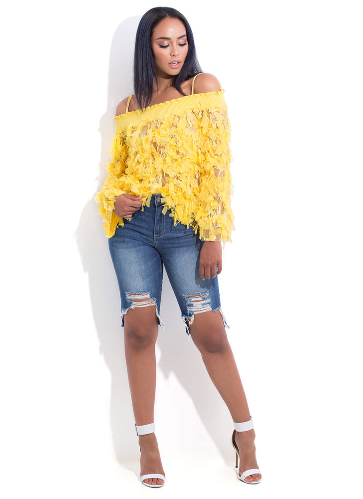 Pretty Bird Mesh Fringe Off-Shoulder Top YELLOW (You Saved $27)