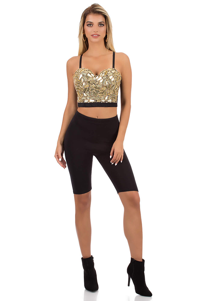 Shiny Armor Beaded Mirrored Bustier Top GOLD