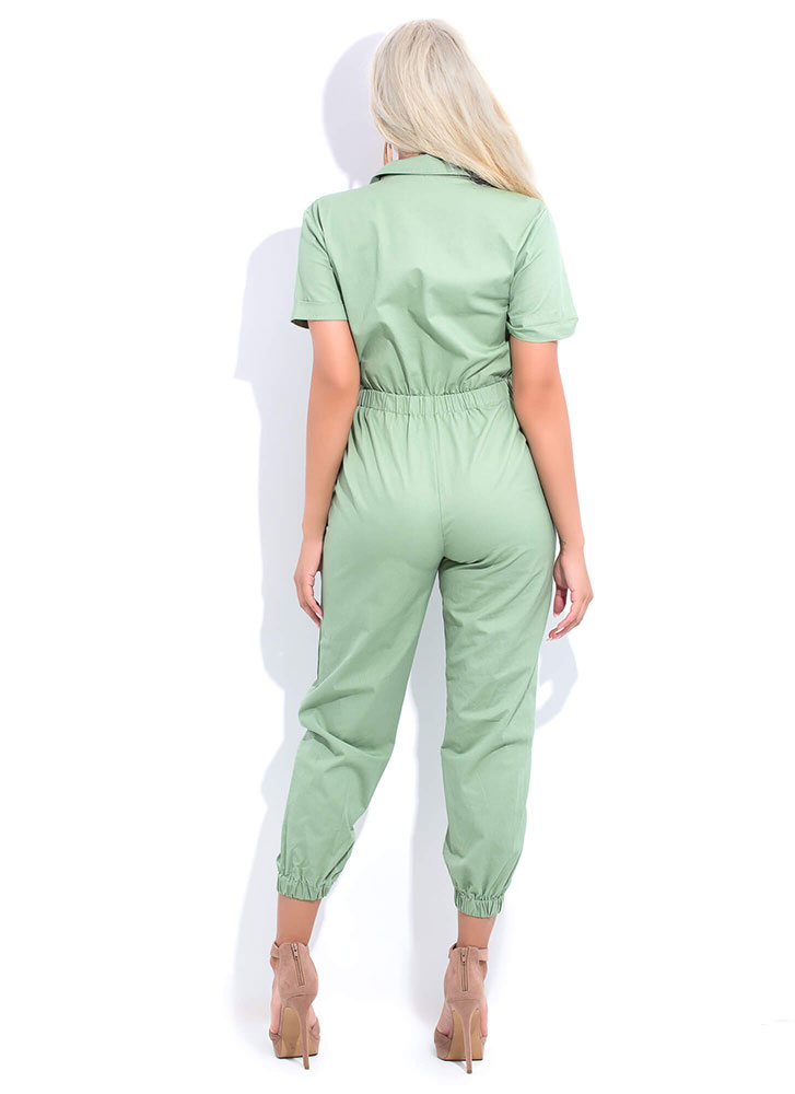 Once And For All Button-Up Jumpsuit SAGE