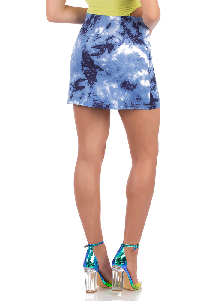 Sky's The Limit Zip-Up Tie-Dye Miniskirt BLUE (You Saved $18)
