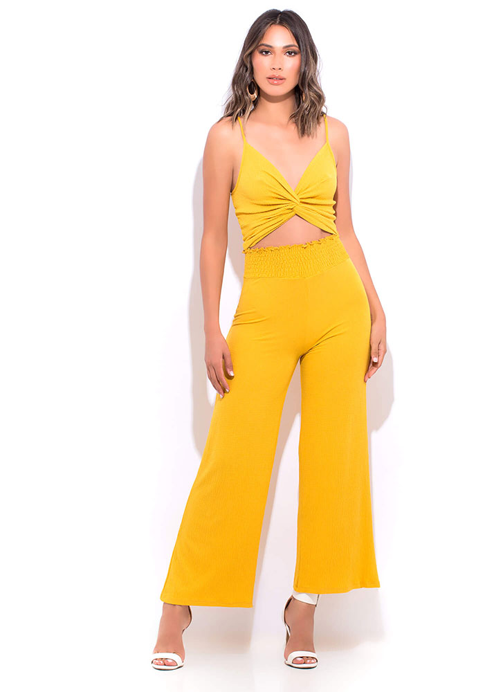 My Vacay Textured Twist-Front Tank Top YELLOW
