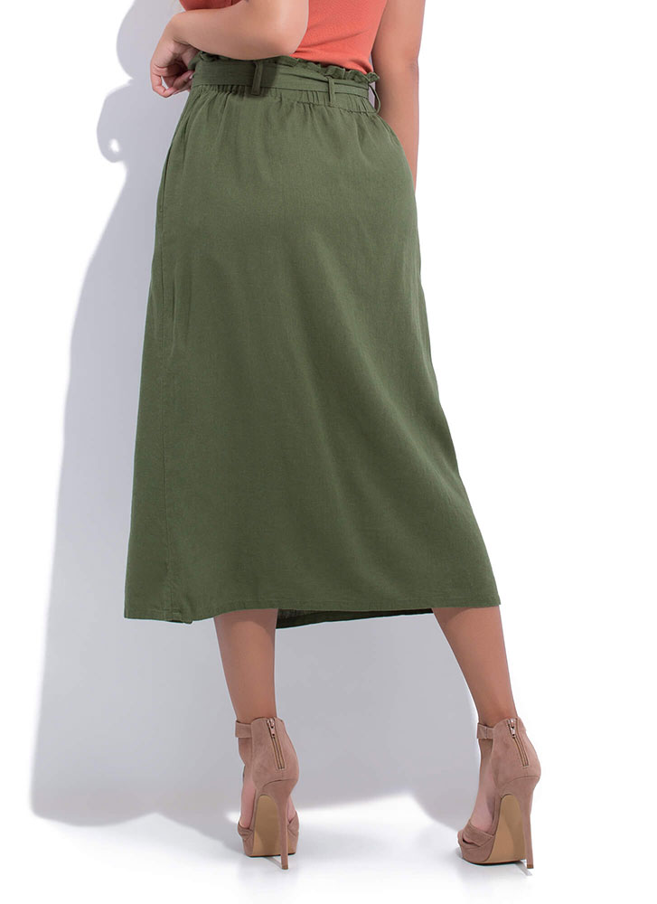 Chic Look Belted Paper-Bag Waist Skirt OLIVE (You Saved $12)