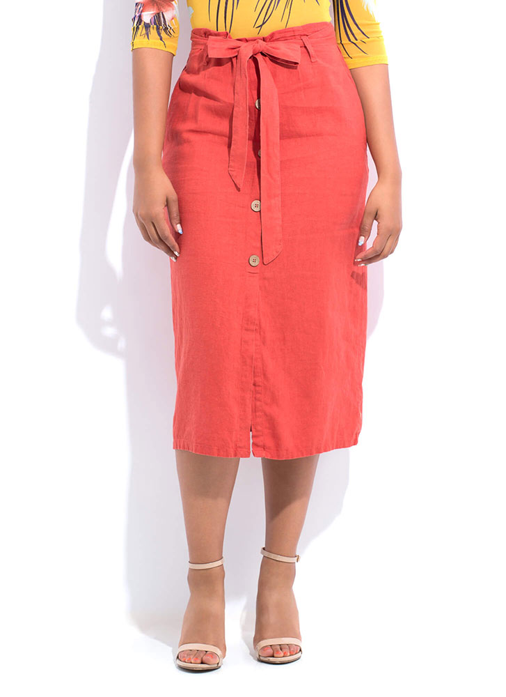 Chic Look Belted Paper-Bag Waist Skirt RUST (You Saved $12)