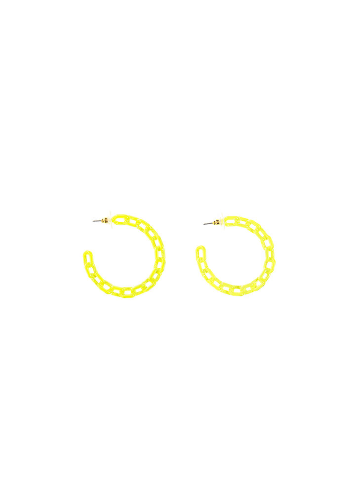 Chic Link Chained Partial Hoop Earrings NEONYELLOW (You Saved $7)
