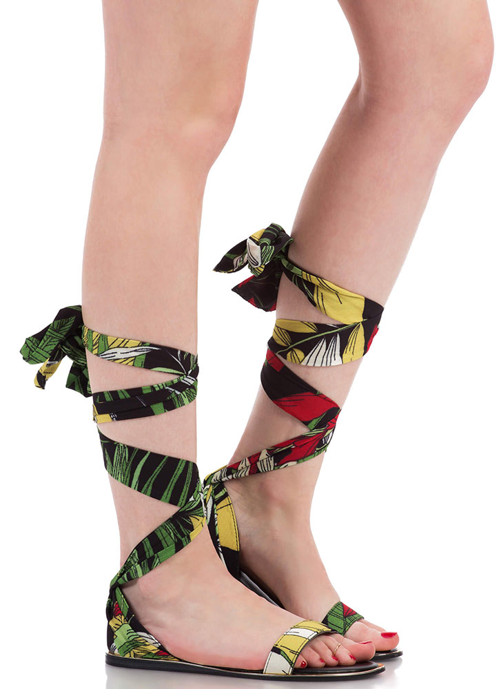 The Weekender Tropical Lace-Up Sandals BLACK (You Saved $15)