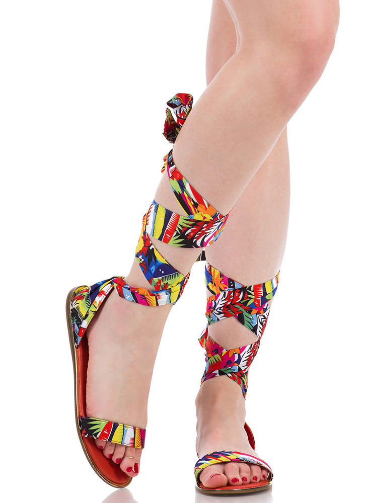 The Weekender Tropical Lace-Up Sandals RED (You Saved $15)