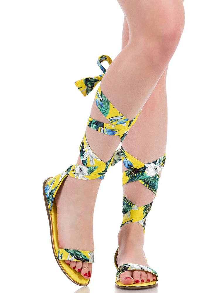 The Weekender Tropical Lace-Up Sandals YELLOW (You Saved $15)