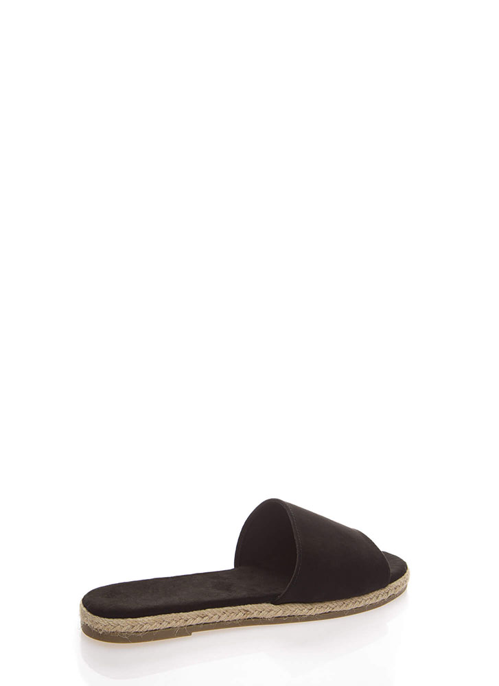 Layover Braided Faux Suede Slide Sandals BLACK