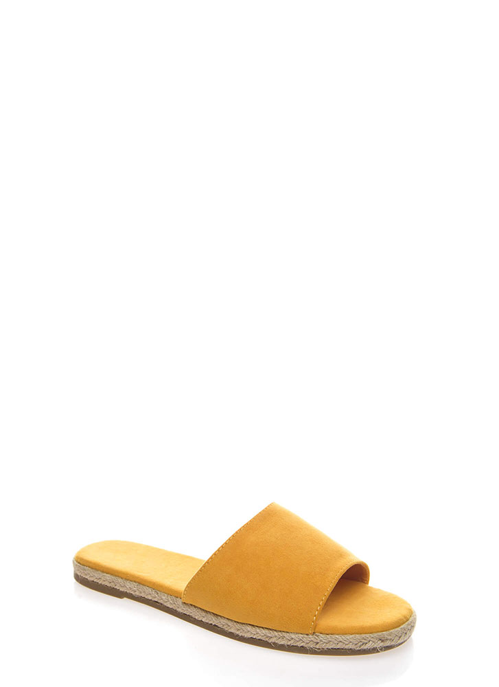 Layover Braided Faux Suede Slide Sandals MARIGOLD
