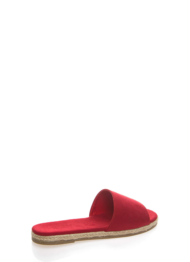 Layover Braided Faux Suede Slide Sandals RED