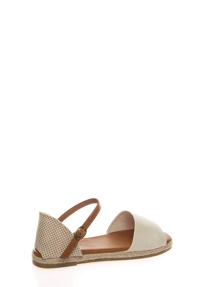 Just Perfect Woven Ankle Strap Sandals BEIGE (You Saved $14)