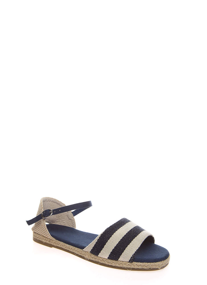 Nice And Nauti Striped Woven Sandals NAVY