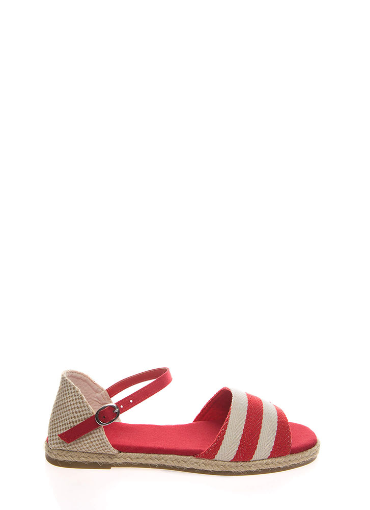 Nice And Nauti Striped Woven Sandals RED