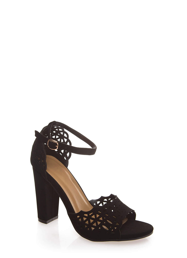 Lovely Lacy Chunky Ankle Strap Heels BLACK
