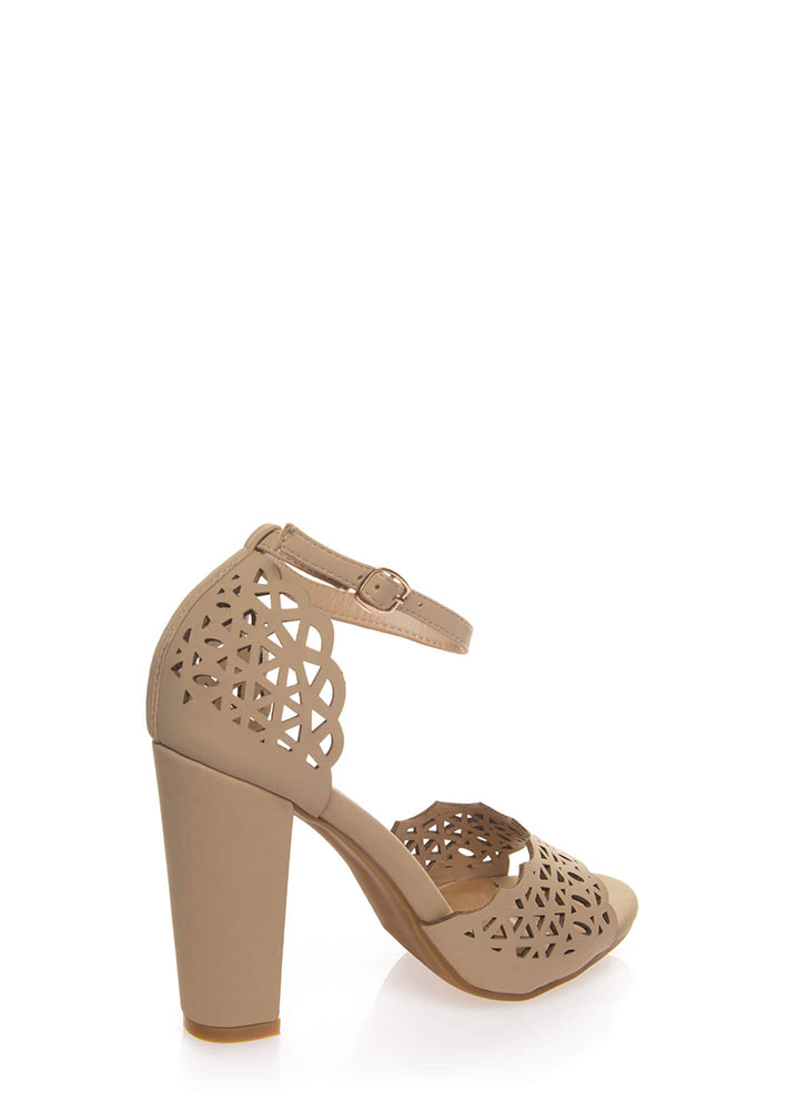 Lovely Lacy Chunky Ankle Strap Heels NUDE