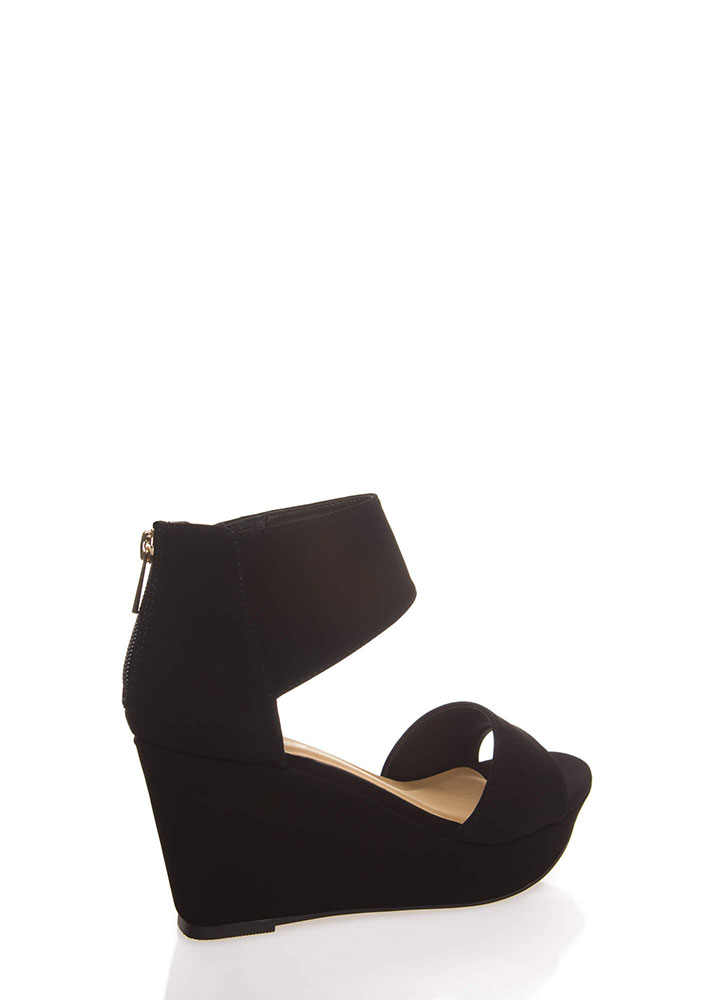 Chic Look Ankle Cuff Platform Wedges BLACK (You Saved $21)