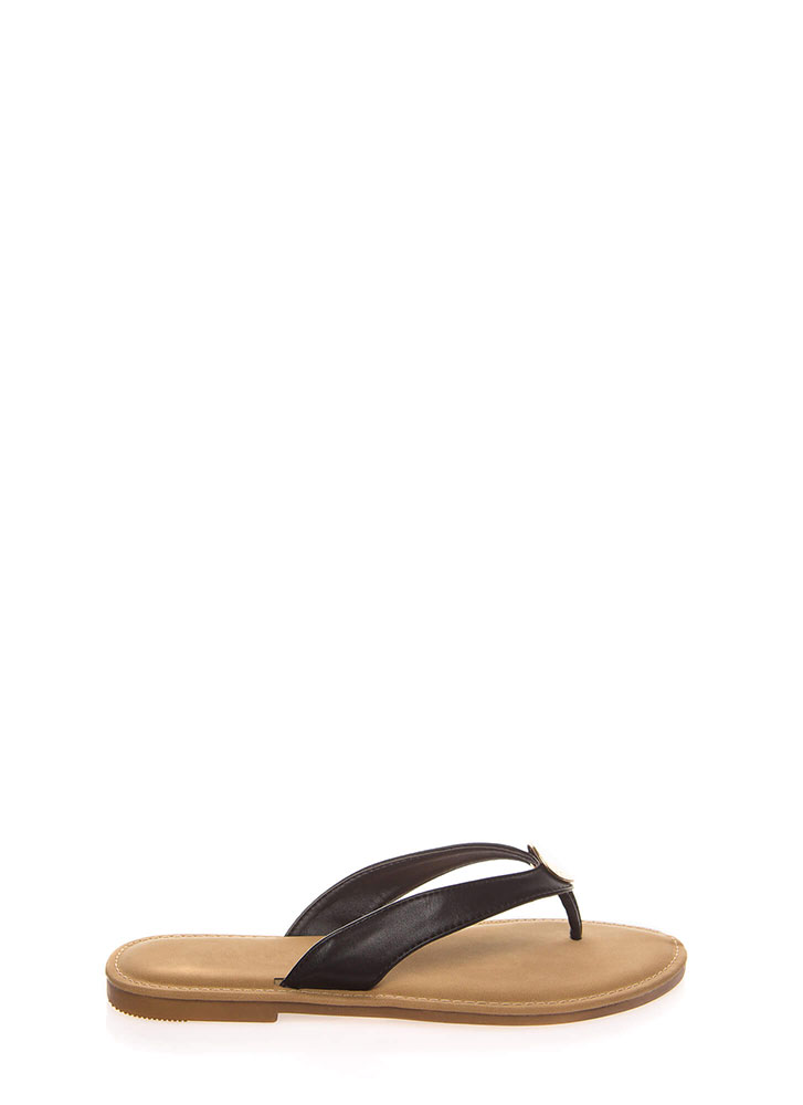 Coin Toss Medallion Charm Thong Sandals BLACK