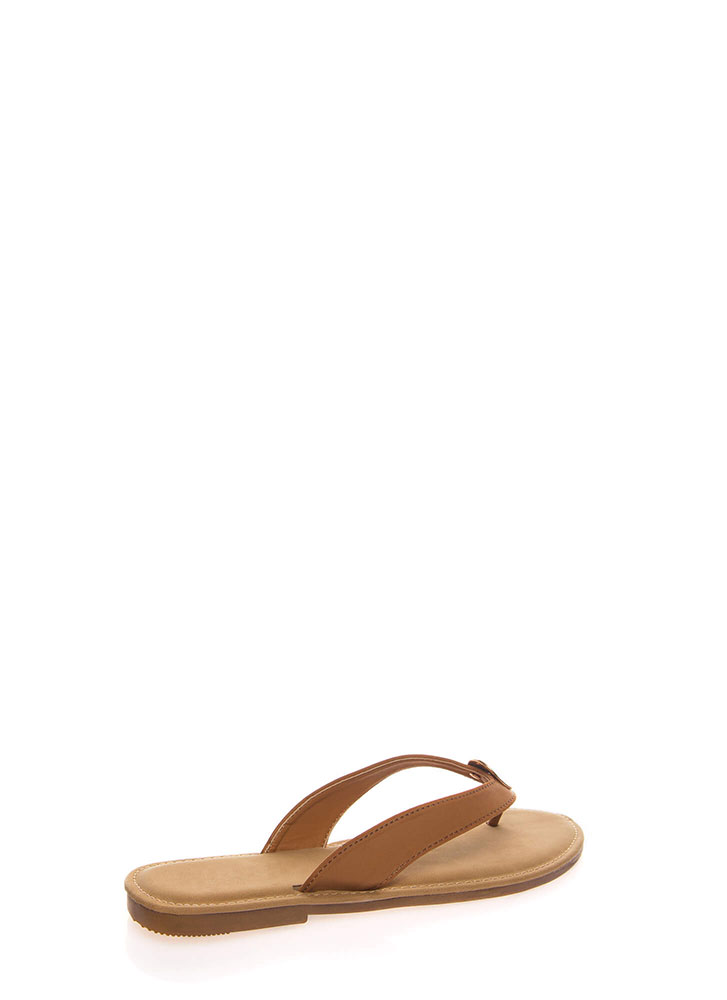 Coin Toss Medallion Charm Thong Sandals TAN
